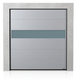 Industrial sectional door with VISUAL aluminium panel
