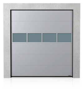 Industrial sectional door with glazed aluminium panel