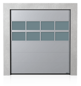 Industrial sectional door with glazed aluminium panel x2