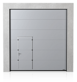 Industrial sectional door with wicket door on the left or right side