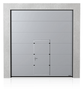 Industrial sectional door with wicket door