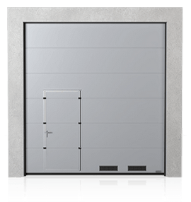 Industrial sectional door with wicket door on the left or right side and K-1 air grilles