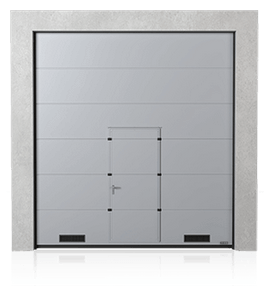 Industrial sectional door with wicket door and K-1 air grilles