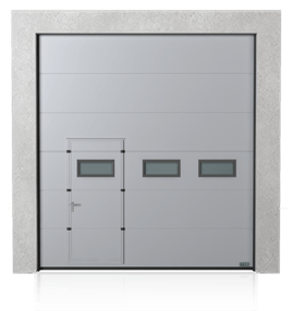 Industrial sectional door with wicket door on the left or right side and windows A-1