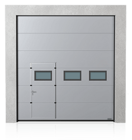 Industrial sectional door with wicket door on the left or right side and windows A-2