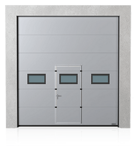 Industrial sectional door with wicket door and windows A-2