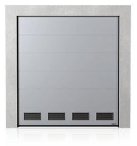 Industrial sectional door with K-2 air grilles