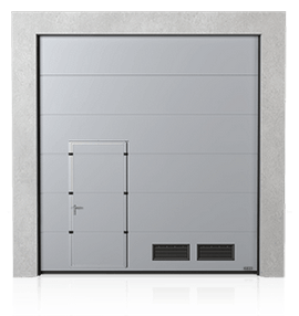 Industrial sectional door with wicket door on the left or right side and K-2 air grilles