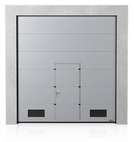Industrial sectional door with wicket door and K-2 air grilles