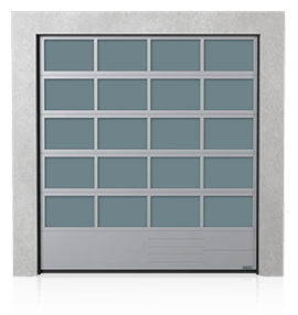 Industrial aluminium sectional door with the steel bottom panel G, V, N, W