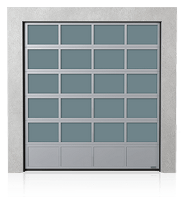 Industrial aluminium sectional door with the solid aluminium bottom panel