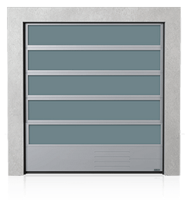 Industrial aluminium sectional door with VISUAL glazing and the steel bottom panel G, V, N, W