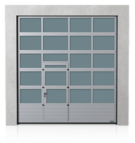 Industrial aluminium sectional door with the steel bottom panel and wicket door on the left or right side