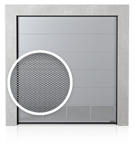 Industrial sectional door with bottom ventilation panel (with expanded wire mesh)