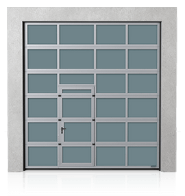 Industrial aluminium sectional door with wicket door on the left or right side