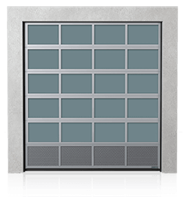 Industrial aluminium sectional door with bottom ventilation panel (with perforated sheet)